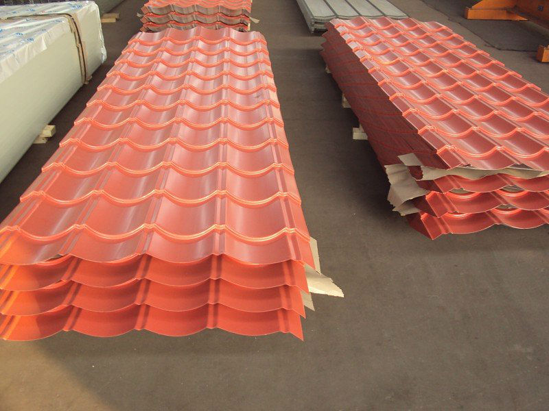 Colour-coated corrugated metal roofing sheets