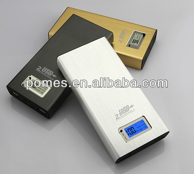 Metal Power Bank 11200mAh External Battery Backup Pack Universal Dock Dual USB For iPhone 4 4S 5 HTC iPad Laptop