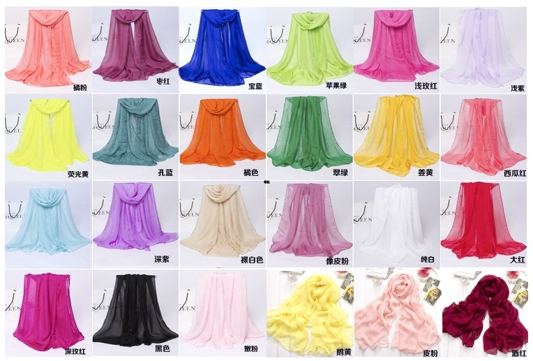 Cheap fashionable lady Chiffon scarf sun protection shawl plain polyester scarf