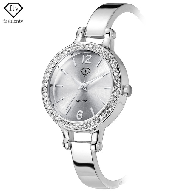 FTV Silver Bracelet Watch For Woman Alloy Band New Design Ladies Quartz Wristwatches Fashion Reloj Mujer 2016 Montre Femme