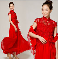 Z60519W RED STAND COLLAR LACE WEDDING DRESS