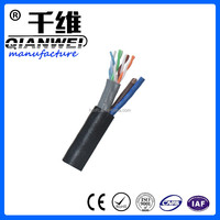 Hongchuang outdoor utp cat5e 24 AWG 4 pair cable with 2C with 0.75mm ppower cable 305m