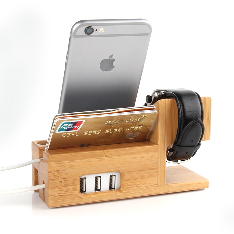 Hot Selling Desktop Smart Watch Phone Holder with USB Wood Bamboo Cell Phone Stand Charging Station