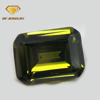 Loose olive gems octagon step cut cubic zircon stone