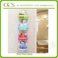 metal fruit and vegetable display wall shelf plastic connector plastic 3 layers butterfly shape bath shelf with assorted colors
