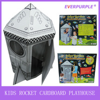 New design custom paintable playhouse,kids rocket playhouse,gingerbread house