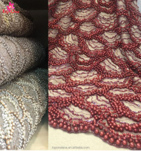 high quality luxury lace fabric bead pearl lace fabric 3d lace fabric beads bridal for evening
