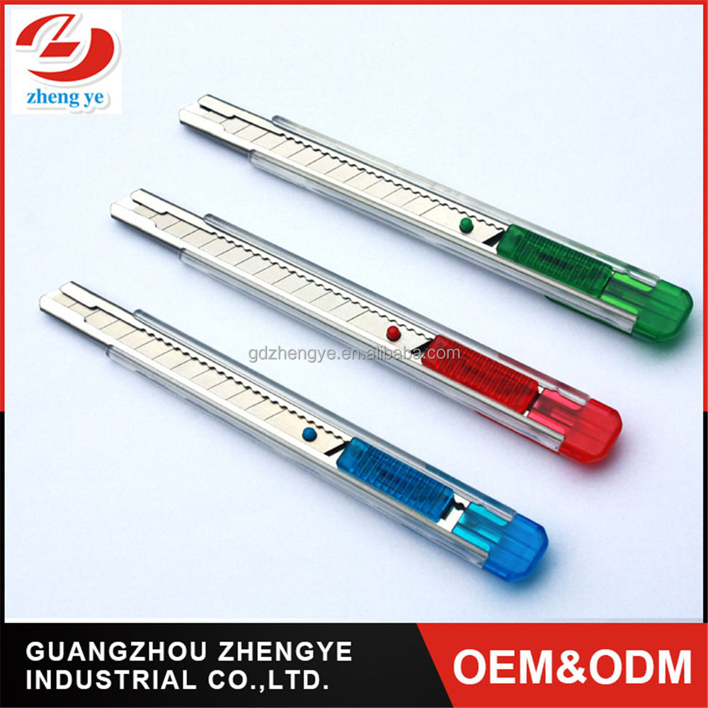 professional 9mm ABS body multi function Stationery OEM cutter knife Transparent pocket snap-off utility knife