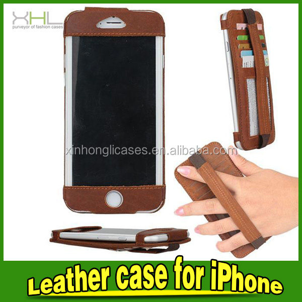 For iphone 6 luxury case with hand hold belt flip leather case for iphone6 4.7inch back cover with screen film