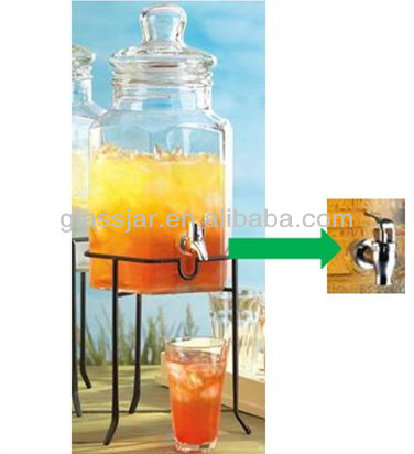 5.5L big beverage glass container with tap