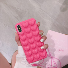 3D hearts bubble clear soft tpu case coque for iphone x 6 6plus 7 7plus candy color phone case with strap