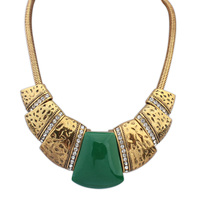 Euro-American popular retro luxury gem necklace