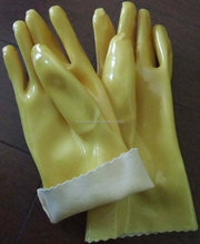 yellow industry working dipped PVC gloves anti oil waterproof alkali acid chemical resistant for labor protection