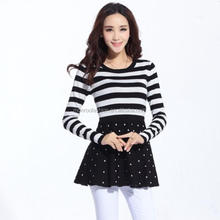 monroo latest casual dress designs of winter women split joint knit dress