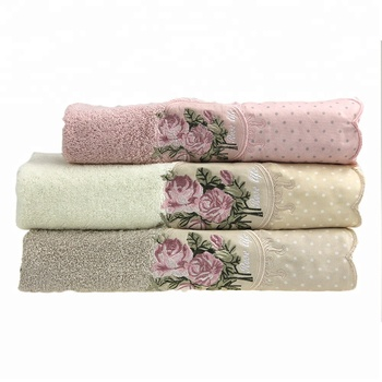 China gift 100% cotton sexy embroidery face towel and bath towel