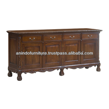 Mahogany Chippendale Buffet with 4 Doors and 4 Drawers
