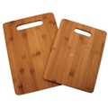 High quality carbonized rectangle bamboo cutting board set of 2 with hanging hole