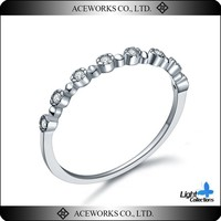 Aceworks Silver Jewelry Thin 925 Sterling Silver CZ Simple Design Ring