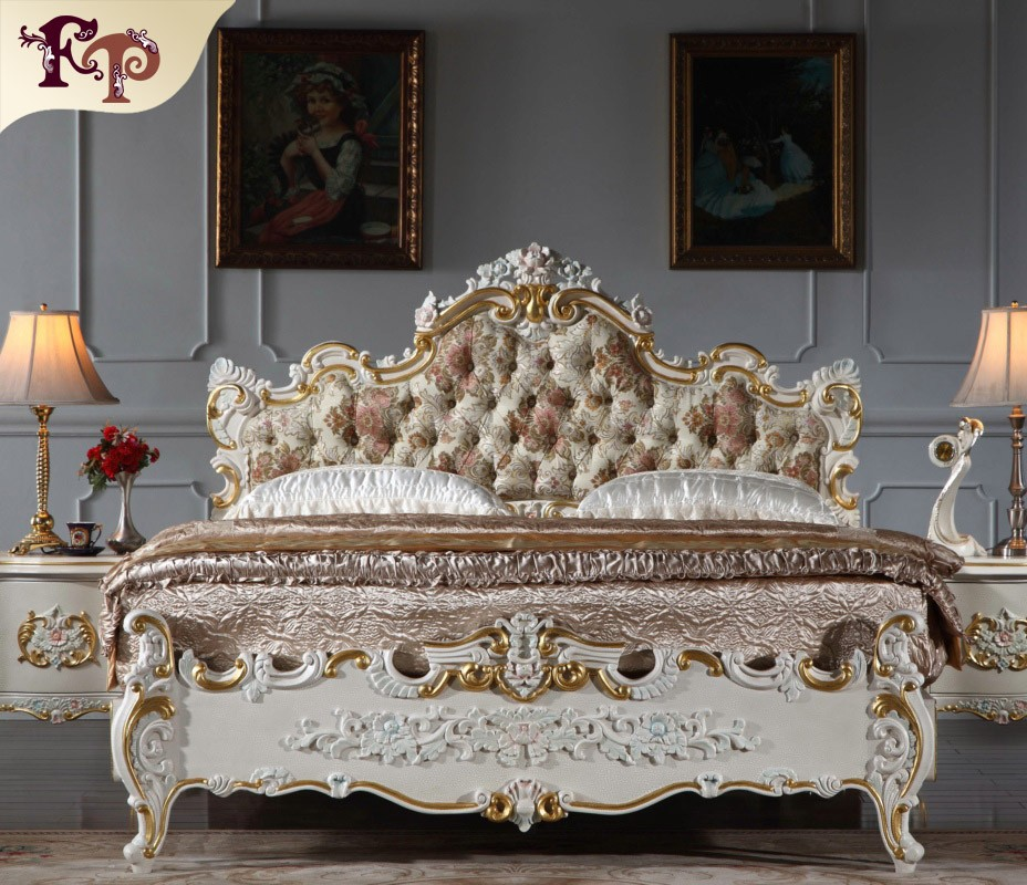 2016 The most popular Europe style oak furniture, luxury upholstered solid wood carving genuine leather bed