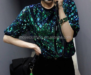 lattice sequin t-shirt Short puffed Sleeve O-Neck Casual or formal Polyester Casual Women green Sequin T Shirts