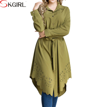 Plus size long sleeve abaya tops blouse hollow irregular casual tunics for women muslim