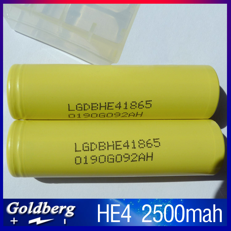 Quality original yellow lg he4 18650 battery rechargeable 2500mah 3.7V High drain 20A lgdbhe41865 battery for vape