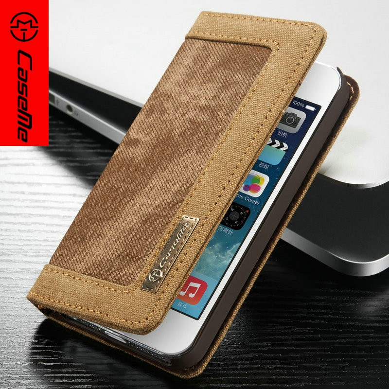 Caseme Jean+PU Wallet leather Case For Apple iPhone SE,For iPhone SE Leather case,flip case for iPhone SE
