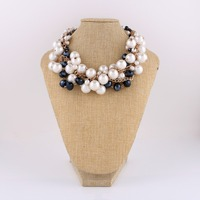 elegant big pearls beaded necklace for women