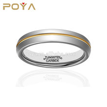POYA Jewelry Sample Wedding Ring Designs 6mm 18K Gold Plated Groove High Polished Black And Silver Tungsten Rings For Couples