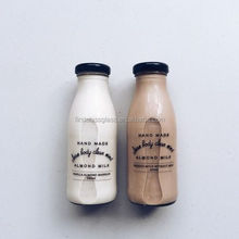 250ml hot selling glass coffee milk bottle with black lid