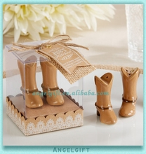 Wedding Gifts Just Hitched Shinning Cowboy Boot Ceramic Salt and Pepper Shakers
