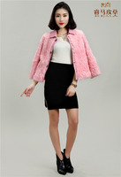 Lamb Fur Coat with Genuine Sheep Collar
