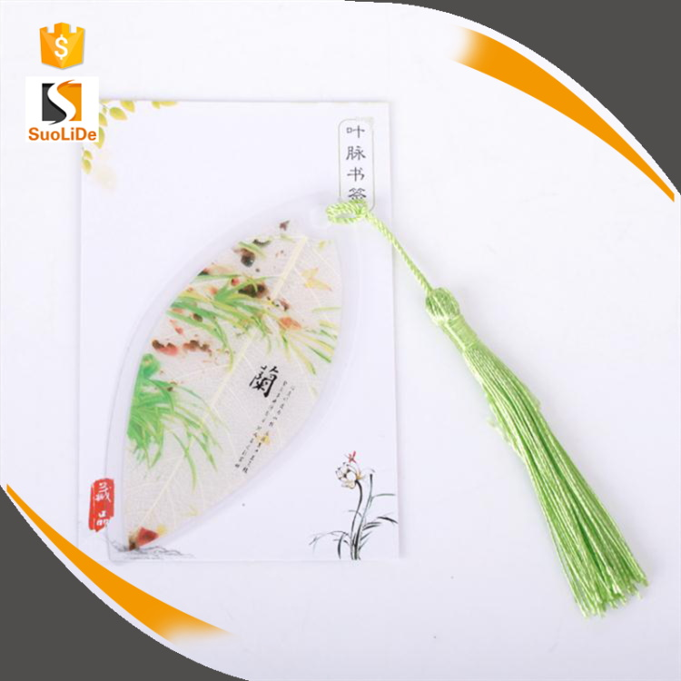 2017 new design creative plastic leaf veins tassels custom bookmarks