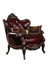 Luxury French Baroque Style Red Leather Tufted Single Sofa, Noble French Style Living Room Furniture BF11-10302g