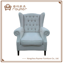 Classic Off White Button Tufted Wing Back Upholstered Club Chair