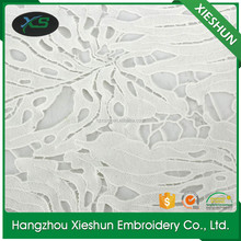 High quality white polyester embroidery african lace fabric for fashion garment and dress