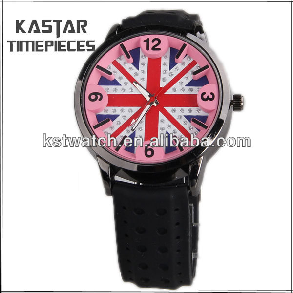 men silicone quartz black watch your own design