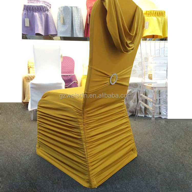 Wholesale made in China gold color ruffled spandex/polyester wedding seat chair cover