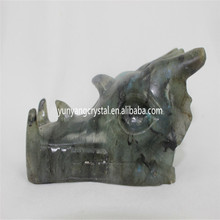 Crystal Dragon Skull Labradorite stone hand Carved Dragon head Skull for sale