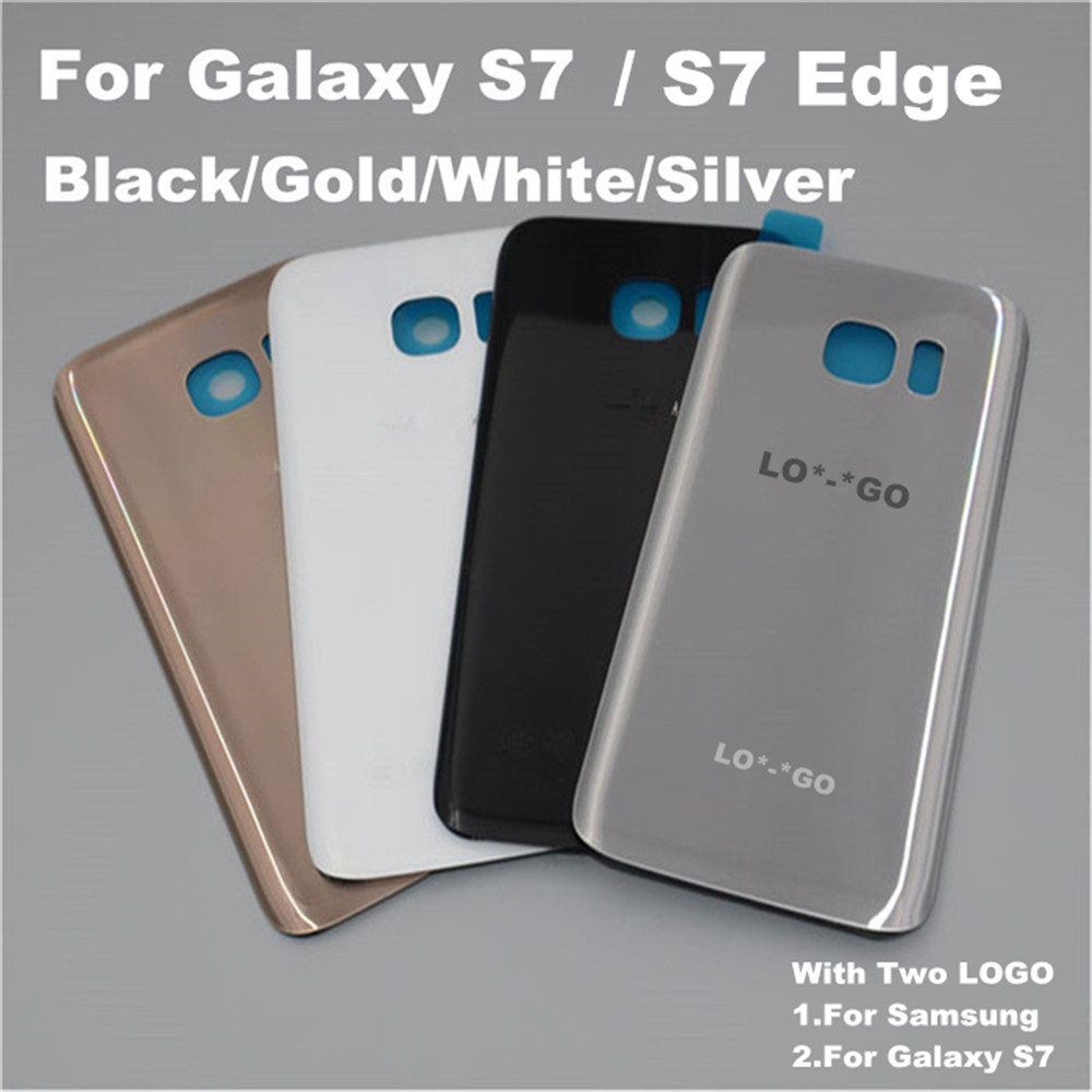 New Original Replacement For Samsung GALAXY S7 Edge G935 S7 G930 Back Glass Cover Rear Battery Cover Door Case+sticker+two logo