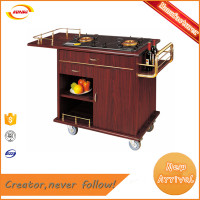 Soild wood double gas burner hotel cooking trolley food service flambe cart B-026 Kunda