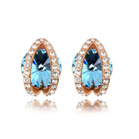Free shipping crystal alloy dubai gold stud earrings