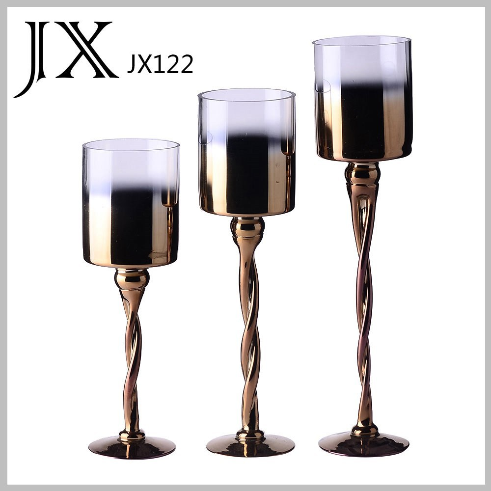 Cheap Whole Metal Color Glass Candle Holders Glass Vase