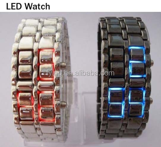 2016 LED Blue Light Digit Stainless Steel High Quality Bracelet Wrist Watch for <strong>Men</strong> and Women