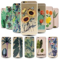 Palm Trees Cactus Sunflowers Plant Soft TPU Clear Case For Iphone 6 Plus 6S Plus 5.5 Inch