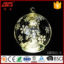 Factory direct sell LED glass ball arts with Christmas tree inside