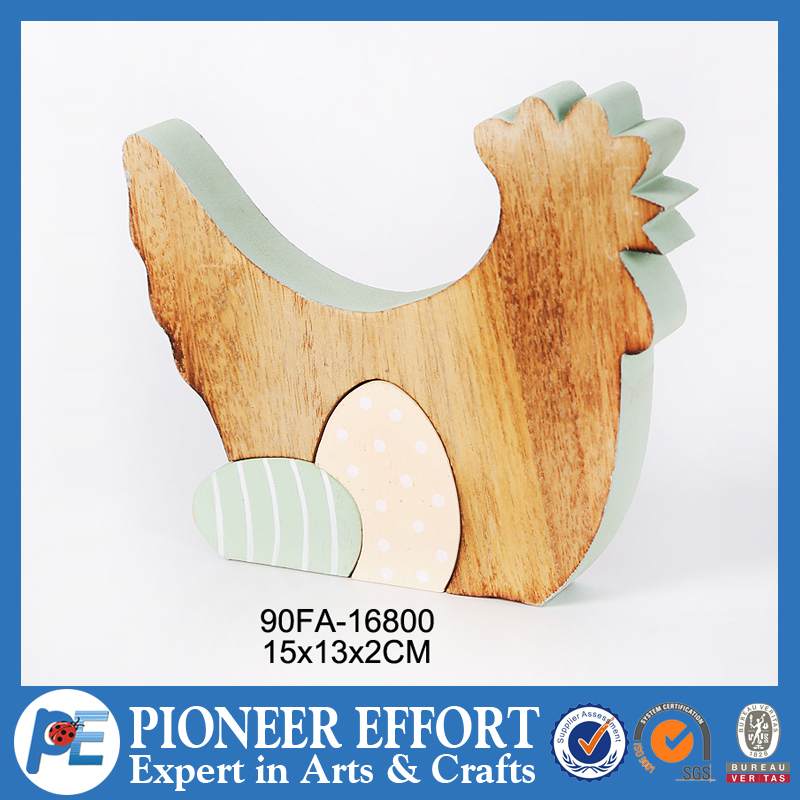 Wooden table decoration chicken and egg for home decor