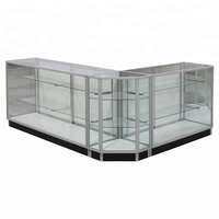 Low-price customized aluminum glass L shape display showcase with lock