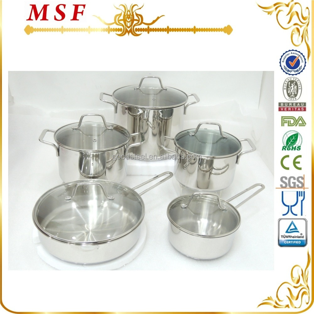 MSF-3849 straight shap of stainless steel cookware 10pcs high quality stainless steel cookware set for Europe market