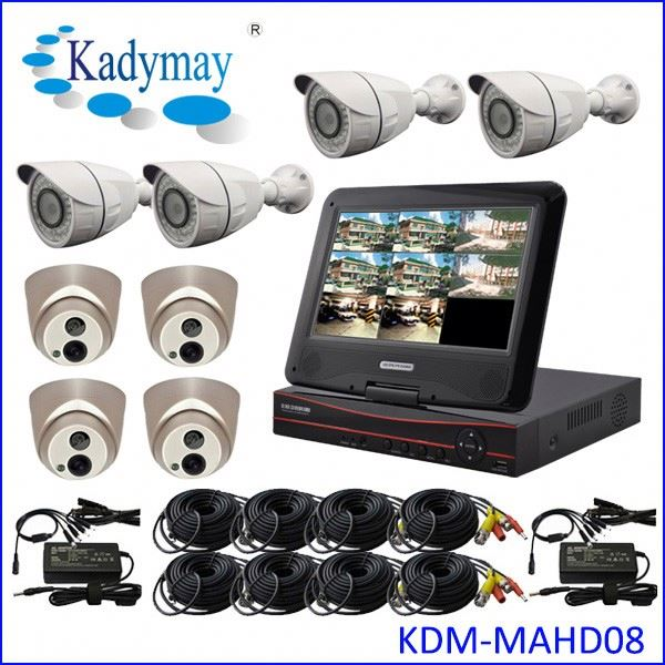 "Wholesales 1.0mp/1.3mp/2.0mp 8chs waterproof security camera system dvr, with 10.1"" LCD"